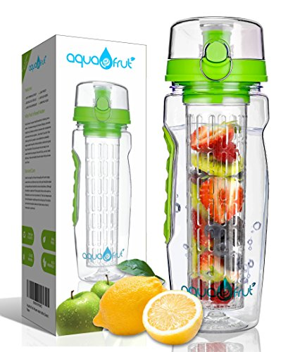 AquaFrut 32oz Fruit Infuser Water Bottle (Green) Includes Bonus Brush