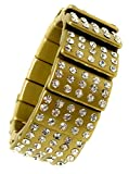 Dave's Collections Glitzy Glam Iced Out Rhinestone Gold-Plate Acrylic Cuff Stretch Bracelet