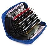 Zhoma RFID Blocking Genuine Leather Credit Card Case Holder Security Travel Wallet - Navy Blue