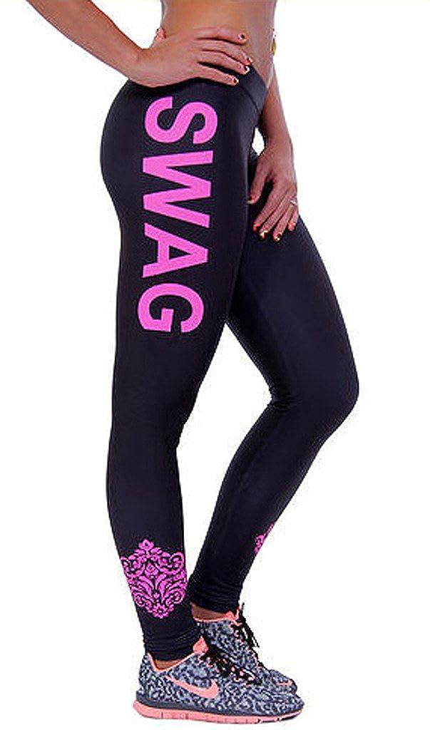 Bigood Femme Pantalon Leggings Yoga Collant Imprim/é Lettre Elastique Slimmer de Sport