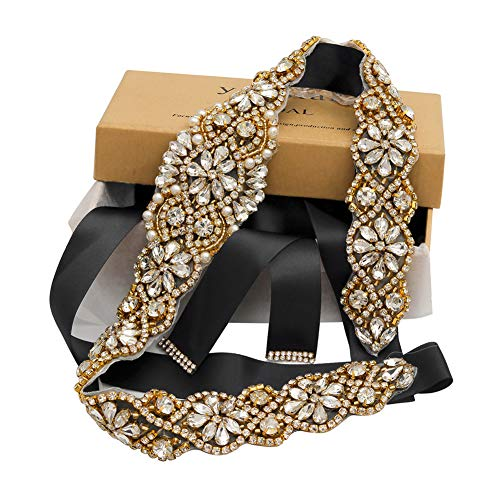 Yanstar Handmade Gold Crystal Rhinestone Black Belts Sashes For Bridal Wedding Gowns