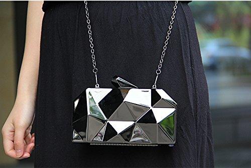 3d 's Caso Bolsa Women Mano Embrague Bolso Plata Duro Zarapack De Hombro Dimensional Metal HB5x4Eyqw