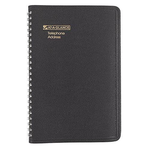 - AT-A-GLANCE 8001105 Telephone/Address Book, 4-7/8 in x 8 in, Black