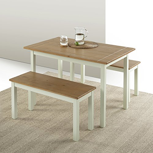 Zinus Becky Farmhouse Dining Table with Two Benches / 3 piece set (2 Table For Dining Cheap)