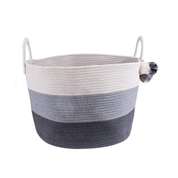 Cotton Rope Blanket Storage Basket – 100% Woven Large Collapsible Laundry Basket for Organizing Baby Nursery, Living Room and Playroom, Perfect for Blankets, Clothes, Towels and Toy Bin (White/Grey)