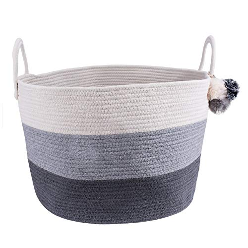 Cotton Rope Blanket Storage Basket – 100% Woven Large Collapsible Laundry Basket for Organizing Baby Nursery, Living…