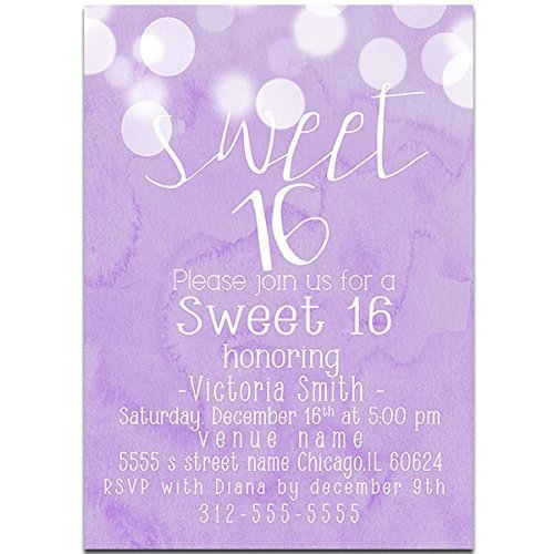Amazon Com Purple Watercolor Sweet Sixteen 16 Birthday Party