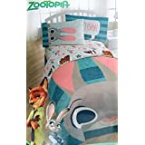 Disney Zootopia Twin Sized 4 Piece Bedding Set - Reversible Comforter and Sheet Set
