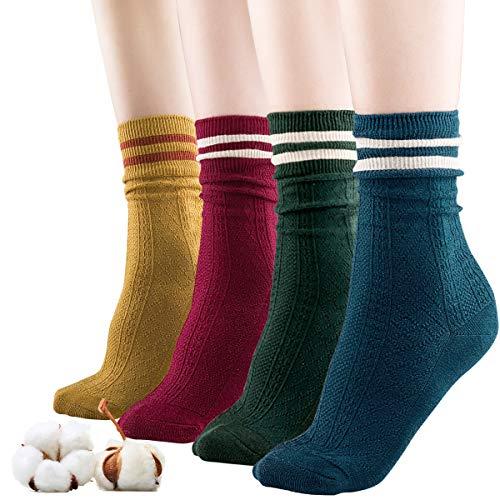 - Sandiorsox Women Cotton Socks,Organic Cotton,Suitable for Different Color Shoes,4 Pairs