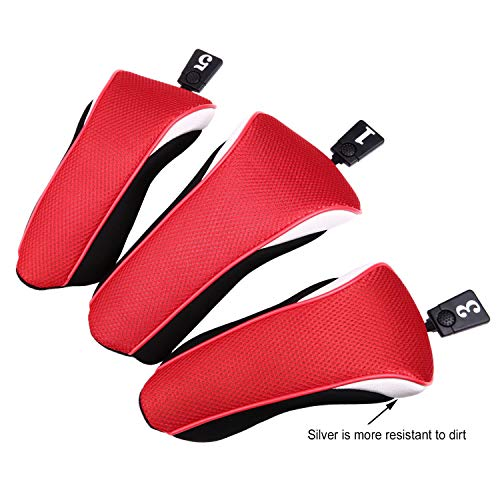 Sword &Shield sports 3pcs/Set New Driver # 1 3 5 Fairway Wood Cover Golf Club Headcover£¨Red£