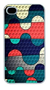Colored Squiggles Custom iPhone 4s/4 Case Cover Polycarbonate White