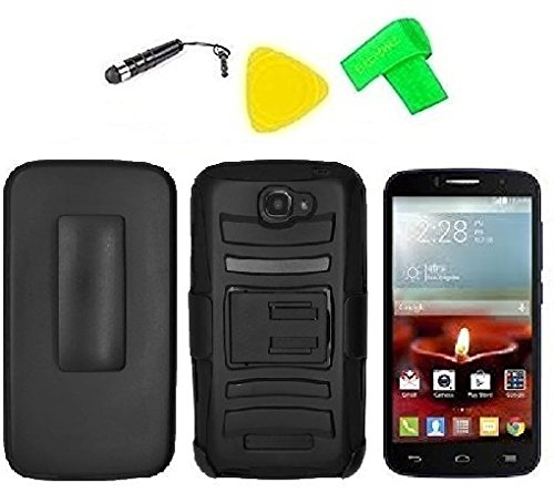 Belt Clip Holster Heavy Duty Hybrid Phone Cover Case Cell Phone Accessory + Extreme Band + Stylus Pen + LCD Screen Protector + Yellow Pry Tool For Alcatel One Touch Pop C7 7040D 7041X 7041D OT-7040E 7040F 7040A (Belt Clip Holster Black/Black) (Alcatel One Touch Pop C7)