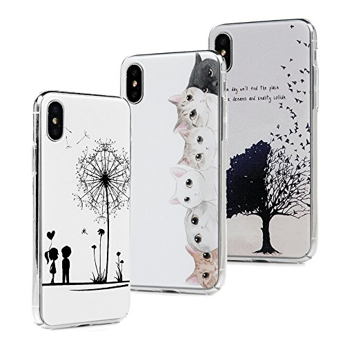 ZSTVIVA iPhone X/iPhone Xs Case, 3-Pack Transparent Hard Shell Plastic Case Slim Fit Lightweight Anti-Scratch Cover Bumper with Screen Protector - Tree Birds Cute Cats Couple Dandelion