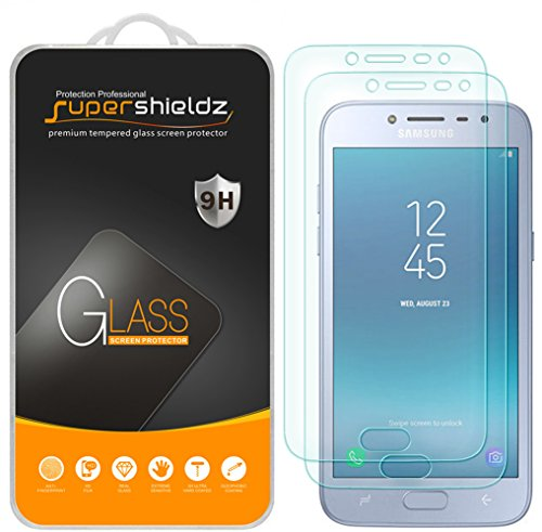 (2 Pack) Supershieldz for Samsung Galaxy J2 Pro (2018) Tempered Glass Screen Protector, Anti Scratch, Bubble Free