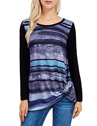 UXELY Striped T Shirt,Teenagers Colorful Classic Autumn Twist Knot Top High Low Blue M Classic Beach Stripe Shirt