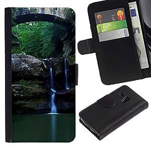 Paccase / Billetera de Cuero Caso del tirón Titular de la tarjeta Carcasa Funda para - Nature Beautiful Forrest Green 89 - Samsung Galaxy S3 MINI NOT REGULAR! I8190 I8190N