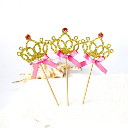 Astra Gourmet 12 Counts Glitter Tiara Crown Girl Birthday Party Cupcake Topper Princess Birthday Party Decorations, (Gourmet Cupcake)