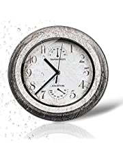 11.2-inch Outdoor/Indoor Wall Clock Waterproof, Silent Non Ticking Battery Operated Clock,with Thermometer Hygrometer for Patio, Garden, Pool or Hanging Indoor