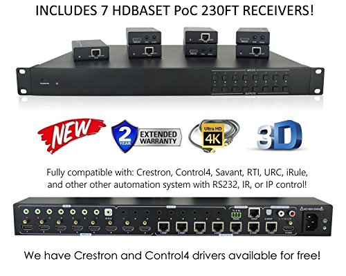 (8x8 HDbaseT 4K Matrix SWITCHER with 7 PoC Receivers (CAT5e or CAT6) HDMI HDCP2.2 HDTV Routing SPDIF Audio CONTROL4 Savant Home Automation (8x8 HDbaseT Matrix with 1 HDMI Output))