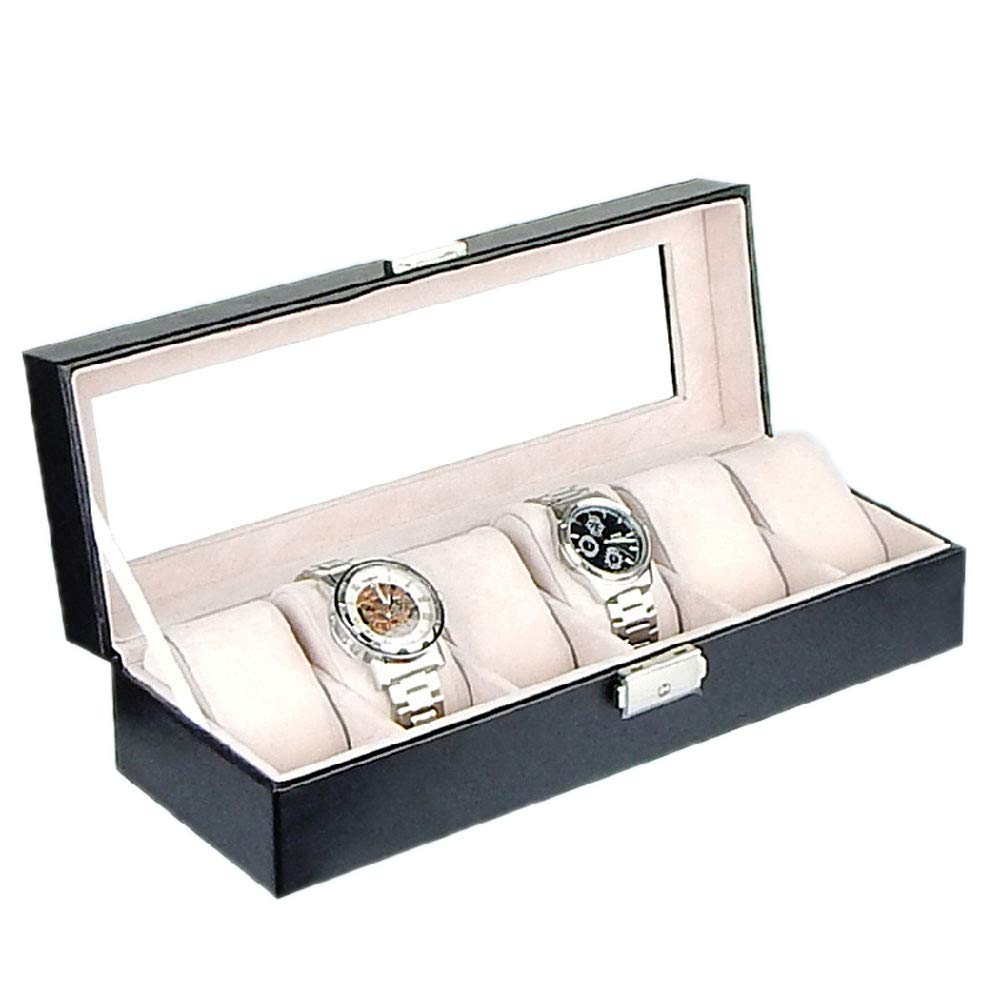 Anytec 6 Grid Watch Jewelry Display Storage Box Case with Mirror Lock Organizers Bracelet Boxes with Pillows Holders