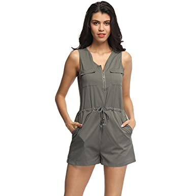 41aee85e995 Jumpsuit for Women Jamicy Shorts Playsuit Summer Sleeveless Zipper Pocket  Party Clubwear Casual Jumpsuit  Amazon.co.uk  Clothing