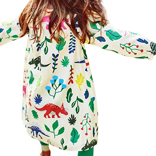 Rumas® Baby Girls Clothes, Dinosaurs Floral Printed Full Sleeve Cotton Clothing Autumn Dress