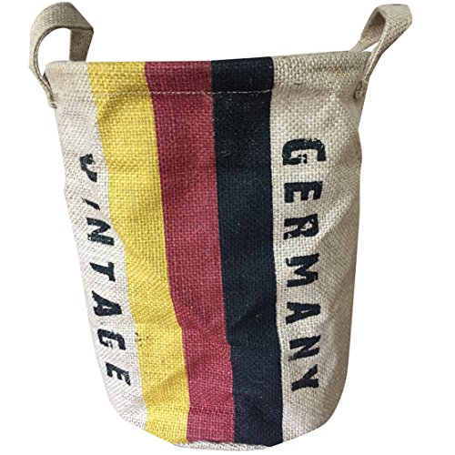 - Coralpearl Collapsible Vintage Round Burlap Woven Storage Basket Bin Jute Toy Bucket Organizer Linen Food Container Holder with Handles,Flags for Home Closet Cabinet Shelves,Room Table Desk (Germany)