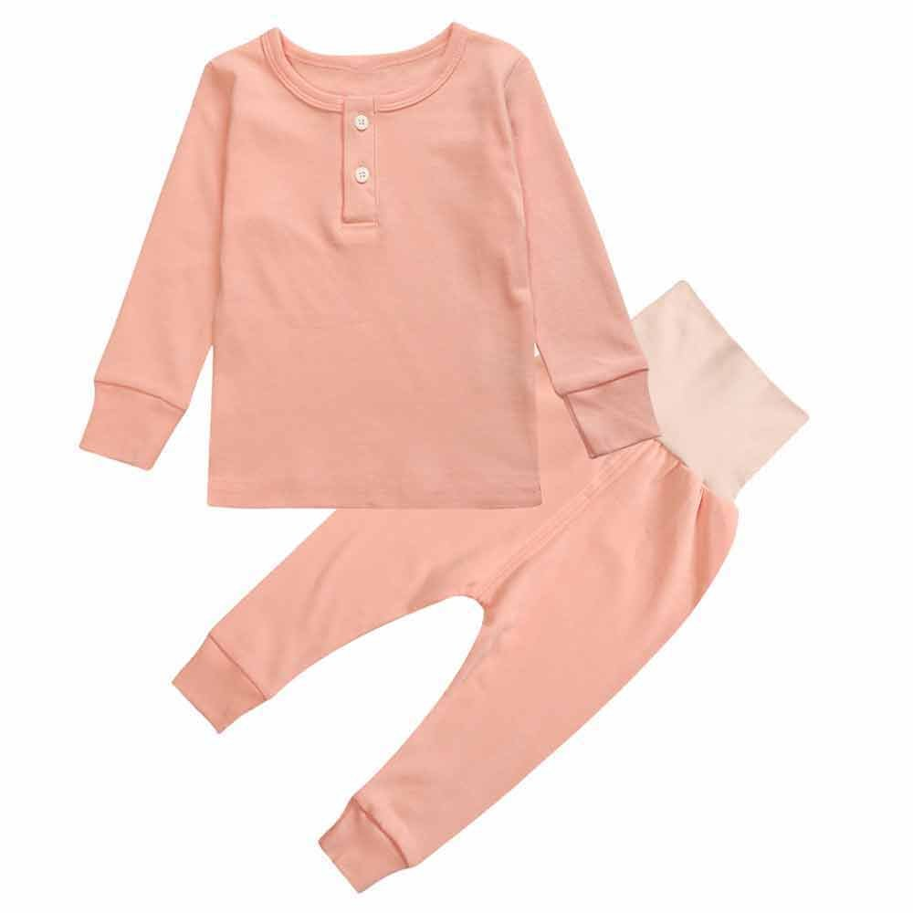 845b39d07b Mary ye Boy Girl Solid Pajamas Set Kids 100% Cotton 2 Pcs Sleepwear Clothes  Set  Amazon.ca  Clothing   Accessories