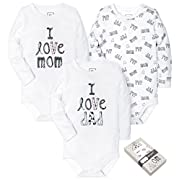 HONGLIN Unisex Baby 3 Pack Long Sleeve BabySuits White Printed Dad and Mom for Gift Box 6-9 Months