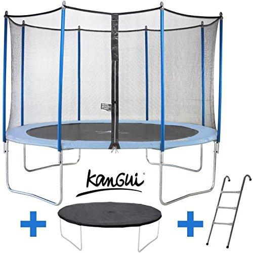 Trampolin 426cm Blau mit Leiter,, Decke Sauberkeit und Schutznetz kangui Twin Duo