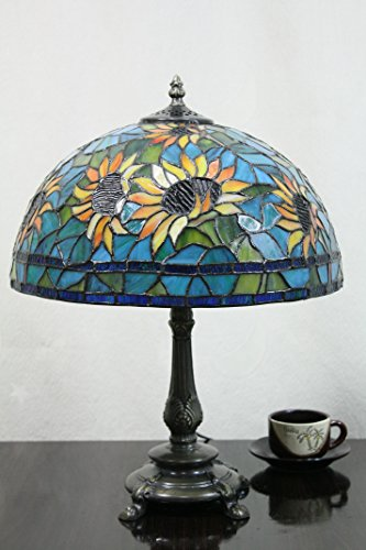 (12-Inch Vintage Pastoral Sunflower Stained Glass Tiffany Table Lamp Bedroom Lamp Bedside Lamp)