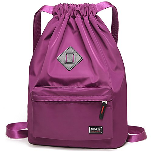 Peicees Waterproof Drawstring Sport Bag Lightweight Sackpack Backpack for Men and Women(Purple)