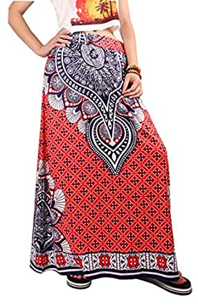 Novias Women African Floral Printed Pleated High Waist
