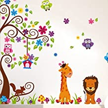 Super Large Tree Flowers Owls Animals Birdcage Wall Decal Home Sticker Paper Removable Living Room Bedroom Art Picture DIY Mural Girls Boys kids Nursery Baby Playroom Decoration + Gift Colorful Butterflies