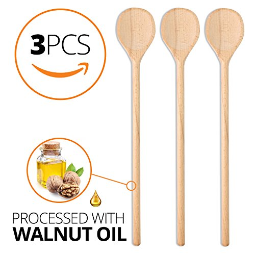 Long Wood Spoon - Wooden Spoon Long Handle - 3 pcs set, 15.7-Inch for Mixing Baking Serving Cooking Wooden Utensils Large Wooden Spoons Long for Party Craft + Mega LOW PRICE by Steso Kitchen (Image #2)