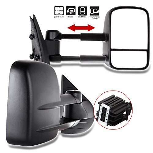 Towing Mirrors for Chevy GMC SCITOO Exterior Accessories Mirrors for 2007-2013 Silverado Sierra (07 New-Body Style) with Power Controlling (Main Mirror) Heated Manual Telescoping and Folding Features