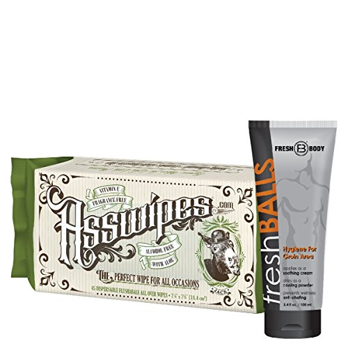 Fresh Balls and ASSWIPES The Ultimate Fresh Pack for Men! Flushable Cleaning Hygiene Wipes with Aloe and Vitamin E! The All Over Hygiene Wipe! Alcohol, Paraben, and Fragrance Free for Sensitive Skin!