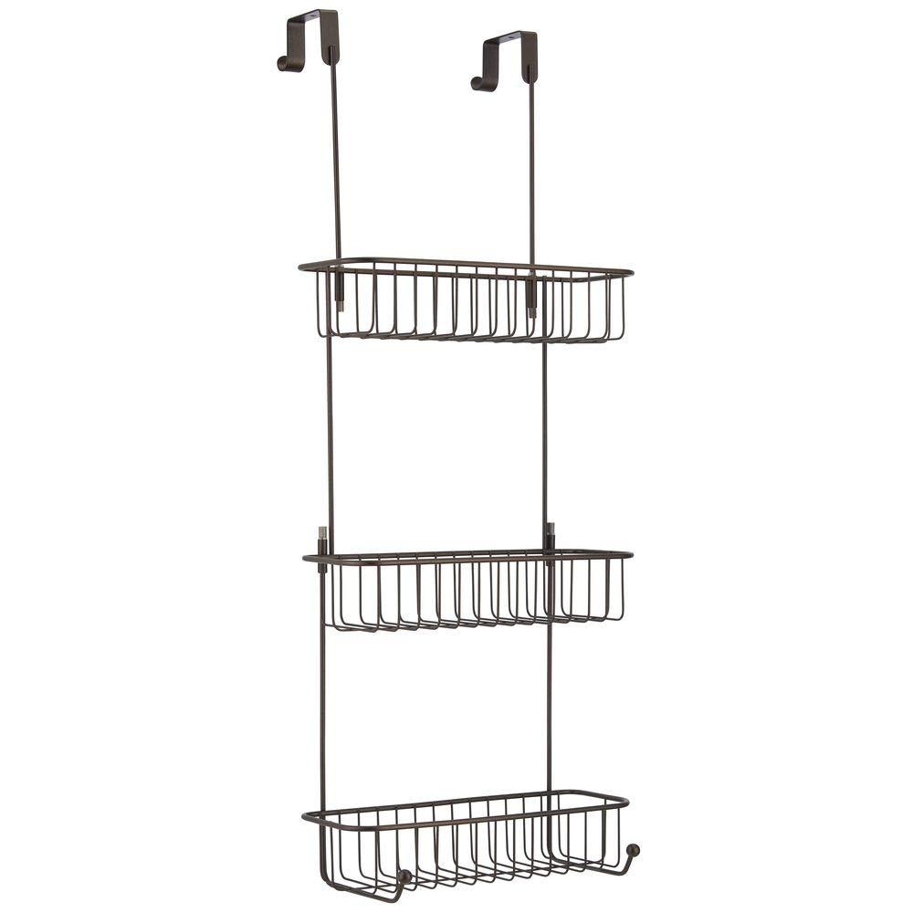 mDesign panier de douche /à accrocher sur la porte de douche joli /étag/ère de douche sans per/çage rangement de douche m/étal /à trois paniers et quatre crochets pour accessoires couleur bronze