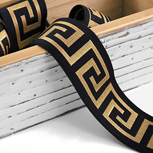 Trim 5-Yards 40mm Greek Key Elastic Gold Stretch Ribbon, Stretch Elastic Band, Headband, Hand Band and Waist Belt, TR-11375