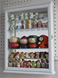 Small Wall Mountable Curio Cabinet Shadow Box, with Glass Door, Mirrored Back, CD06 (White)