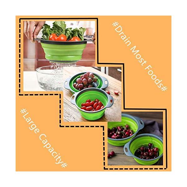 51clVkYyRjL ANPI 2 Stücke Zusammenklappbares Sieb, Quadratisch Faltbarer Seiher Set Früchtekorb Gemüsekorb Kochendes Wasser Sicher…