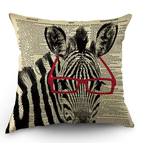 HL HLPPC Smart Zebra Throw Pillow Case Red or Black Glasses Art Black White Zebra Cotton Linen Cushion Cover 18 x 18 Inches Standard Square Decorative Pillow Cover for Sofa and Bed One Side Print