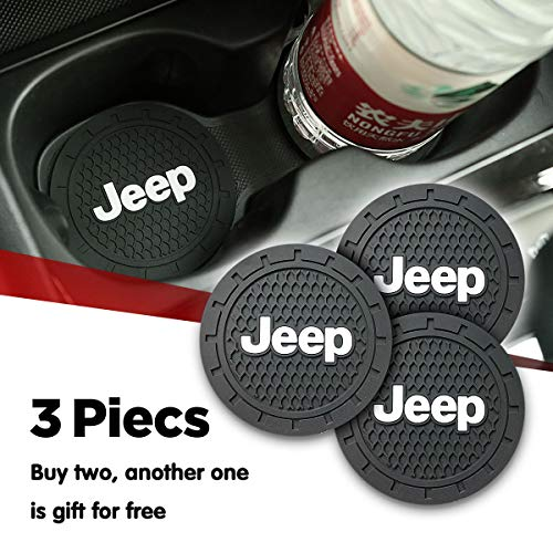 MITAOSLIM 3 Pack 2.75 inch Car Interior Accessories Anti Slip Cup Holder Mat for Jeep Brand All Models