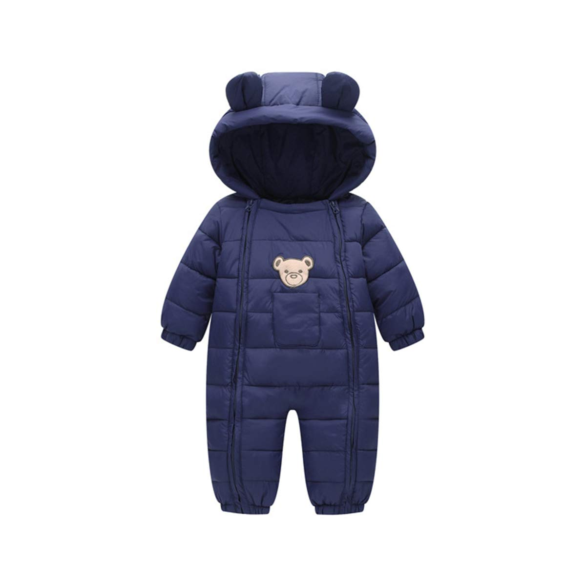 ELIKIDSTO Baby Boys Winter Puffer Snowsuit Jumpsuit Long Sleeve Hooded Winter Romper Onesie for Baby Girls Navy Blue 18-24 Months by ELIKIDSTO
