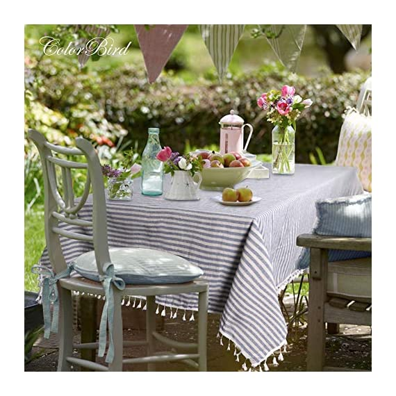 """ColorBird Stripe Tassel Tablecloth Cotton Linen Dust-Proof Table Cover for Kitchen Dinning Tabletop Decoration (Rectangle/Oblong, 55 x 86Inch, Blue) - DELICATE PRINTING - Featuring elegance stripe pattern on cotton linen fabric with beautiful tassel edge, adorn a dining table with this ColorBird modern tablecloth to start off a traditional tablescape, then dole out shimmery flatware and simplistic porcelain plates to make your meal time more luxurious DURABLE CONSTRUCTION - Manufactured from super, hard wearing 100% cotton linen fabric, with a seamless construction that won't easily fray after long term use; Tablecloth measures 55"""" Width x 86"""" Length (140 x 220 cm), includes tassel length, size deviation is between 1 to 2 inch. Fits tables that seat 6-8 people EASY TO CARE - Machine washable in low temperature or cold water, gentle cycle; Hand wash best; No bleaching; Tumble dry on low heat or lay flat to dry. Please avoid being outdoors in direct sunlight too long - tablecloths, kitchen-dining-room-table-linens, kitchen-dining-room - 51clW9tY01L. SS570  -"""