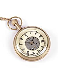 Roman Numeral Brass Metal Mechanical Pocket Watch Open Face Design for Men Women Vintage - 1.8 Inch