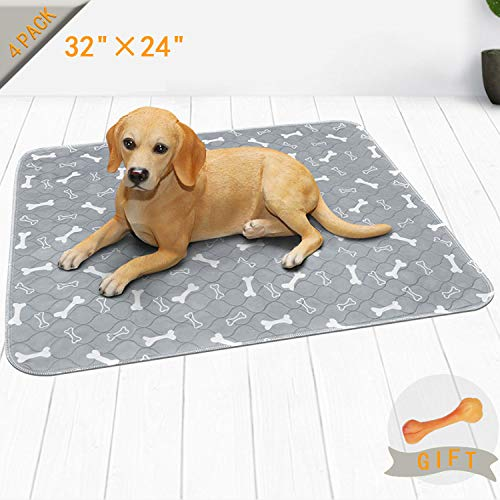 Niubya Washable Dog Pee Pads, Waterproof Reusable Puppy Pad, Super Absorbent Pet Pee Pads for Training, Travel, Whelping, 36 x 24 Waterproof Doggy Pee Pads, 4 Pack