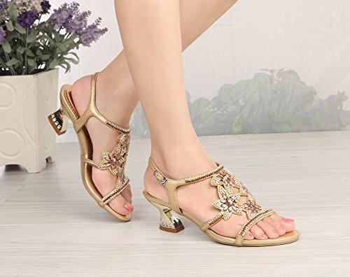 Honeystore Neuheiten Funkelnde Glitzer Blumen Quadrat Absatz Sandalen mit Strass Kristall Schuhe ZX-L002 Gold