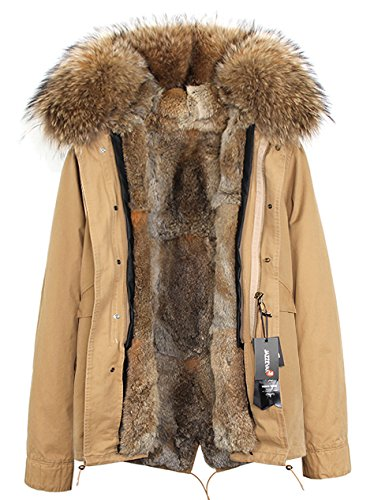 S.ROMZA Women Thick Real Rabbit Fur Parka Hooded Coat Winter Jacket Detachable Fur Trim (US10, Yellow&Khaki)