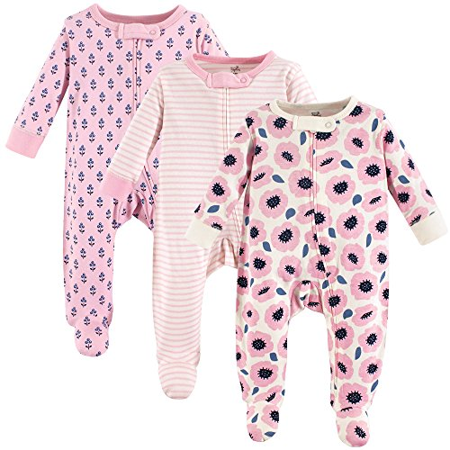 Touched by Nature Unisex Baby Organic Cotton Sleep and Play, Blossoms 3-Pack, 0-3 Months (3M)